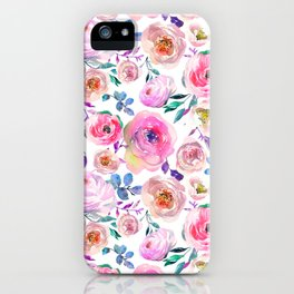 Lilac pink lavender hand painted watercolor roses floral iPhone Case