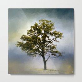 Emerald Waters Cotton Field Tree - Landscape Metal Print