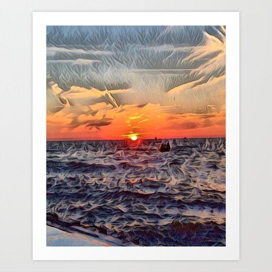 Lake Michigan Romantic Sunset Art Print