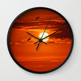 Red Sunset2 False Bay Wall Clock