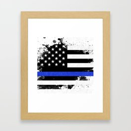 Distressed Thin Blue Line American Flag Framed Art Print