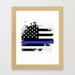 Distressed Thin Blue Line American Flag Framed Art Print