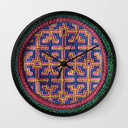 Song for Creativity - Traditional Shipibo Art - Indigenous Ayahuasca Patterns Wall Clock