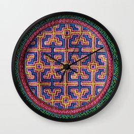 Song for Creativity - Traditional Shipibo Art - Indigenous Ayahuasca Patterns Wall Clock