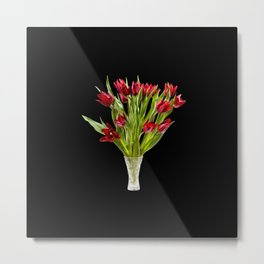 Red cut tulips bouquet in glass vase Metal Print