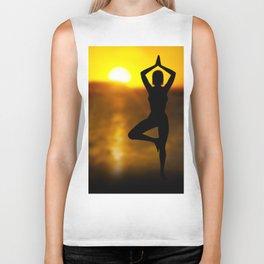 Yoga Female by the Ocean at Sunset Biker Tank