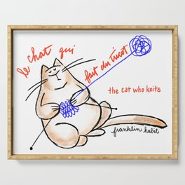 Le chat qui fait du tricot (the cat who knits) Serving Tray