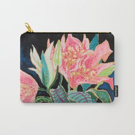 Swan Vase with Pink Lily Flower Bouquet on Dark Blue and Black Winter Floral Carry-All Pouch