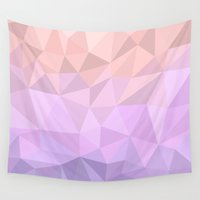 polygon Wall Tapestries featuring pastel polygon by artsimo