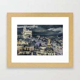 Madrid Cityscape Night Scene Aerial View Framed Art Print