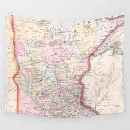 Vintage Map of Minnesota (1864) Wall Tapestry