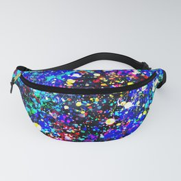 Abstract modern pink navy blue yellow white watercolor splatters Fanny Pack