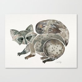 Raccoon – Warm Grey Palette Canvas Print