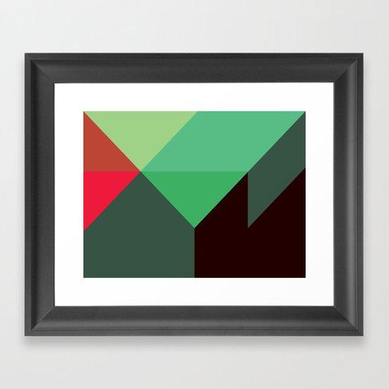 Green & Red Triangles Framed Art Print