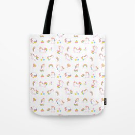 Cute magical rainbow girly pink trendy Unicorn pattern Tote Bag