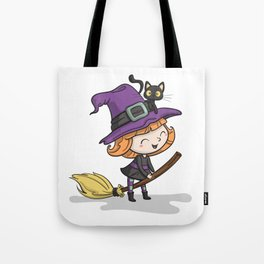 Cute Halloween Witch illustration Tote Bag