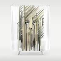 kurt rahn Shower Curtains featuring Kurt Melting by eyesdrippingink