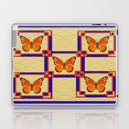 Decorative Monarch Butterflies Lapis Blue Geometrics Design Laptop & iPad Skin