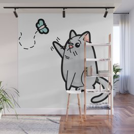 Fat Cat Trying to Get Butterfly Wall Mural