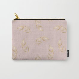 Blush pink elegant faux gold tropical leaves floral Carry-All Pouch