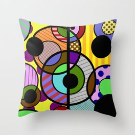Patterned Retro - Geometric, Abstract Artwork Throw Pillow