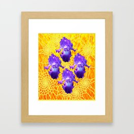 Four   Purple Lavender Iris Dream Catcher Yellow Web Art Framed Art Print