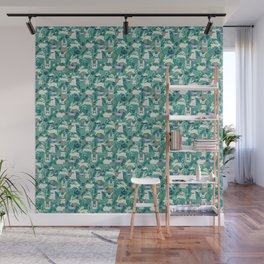 Don't Be Late Bunnies - Aqua Wall Mural
