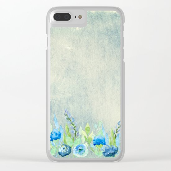 Blue flowers and roses in a meadow- Floral watercolor illustration Clear iPhone Case