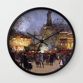 Place de la Republique, Paris, France by Eugene Galien Laloue Wall Clock