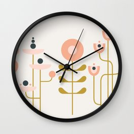 very graphic flowers Wall Clock