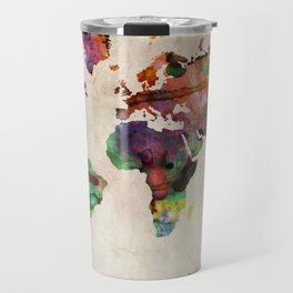 World Map Urban Watercolor Travel Mug