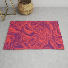 Neon Living Coral - color of year 2019, Ultra Violet Marble Abstract Gradient Pattern Rug