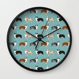 Australian Shepherd owners dog breed cute herding dogs aussie dogs animal pet portrait hearts Wall Clock