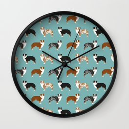 Australian Shepherd owners dog breed cute herding dogs aussie dogs animal pet portrait hearts Wall Clock