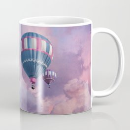 Blue, Pink, and Purple Hot Air Balloons on Pastel Clouds Coffee Mug