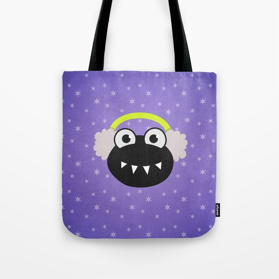 Purple Cute Cartoon Bug With Earflaps In Winter Tote Bag