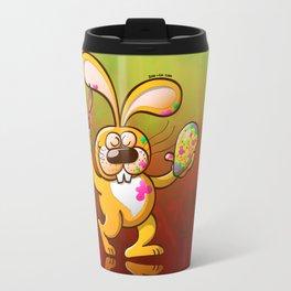 Easter Bunny Painting an Egg Travel Mug