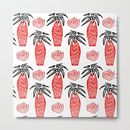 Red Palm Tree Metal Print