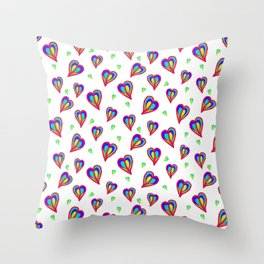 Rainbow Hearts (White): a fresh, lively, colorful pattern of hearts floating on air Throw Pillow