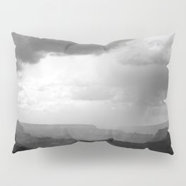 Grand Canyon Landscape with Clouds Black and White Pillow Sham