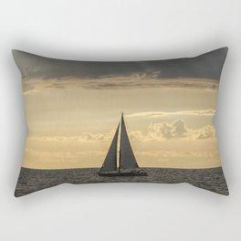 Sailboat Sailing in Lake Michigan beneath Sunbeams Rectangular Pillow