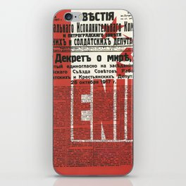 Russia, URSS Vintage Poster, Lenin, Newspaper iPhone Skin
