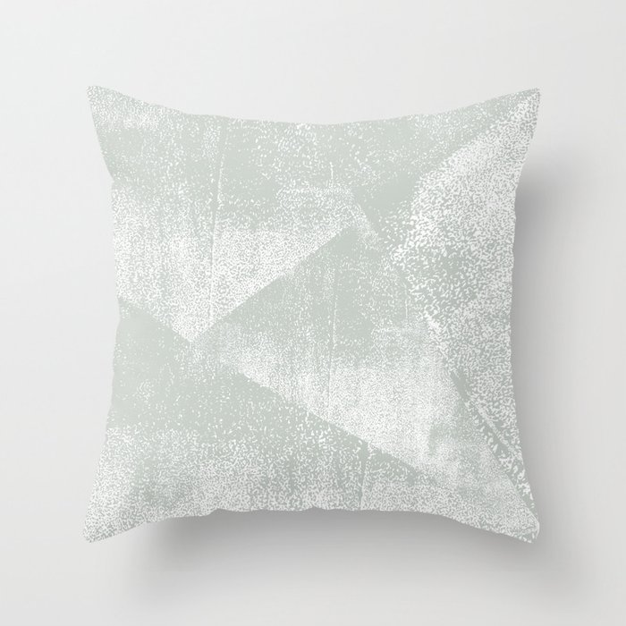 Gray Green and White Geometric Ink Texture Throw Pillow