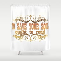soul Shower Curtains featuring SOUL by Ƃuıuǝddɐɥ-sı-plɹoʍ-ɹǝɥʇouɐ