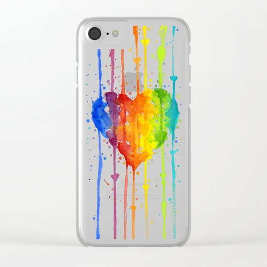 Heart Rainbow Watercolor | Love Wins Clear iPhone Case