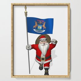 Santa Claus With Flag Of Michigan Serving Tray