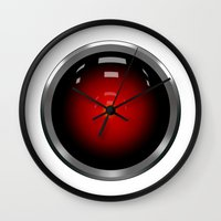 2001 a space odyssey Wall Clocks featuring hal 9000 Space Odyssey by Komrod