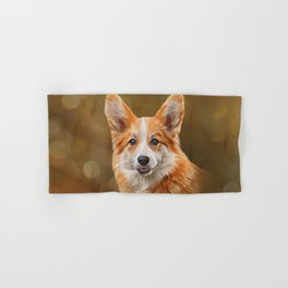 Drawing Dog breed Welsh Corgi Hand & Bath Towel