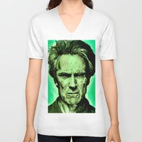 clint eastwood V-neck T-shirts featuring Clint Eastwood by Jason Hughes