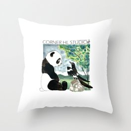 Panda meets Magpie Throw Pillow